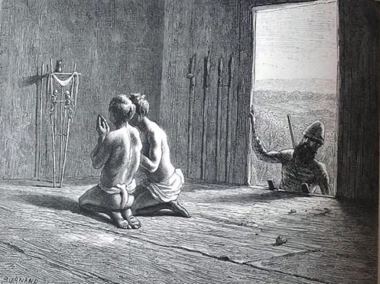 Những người Khơ Mú đang cầu nguyện.