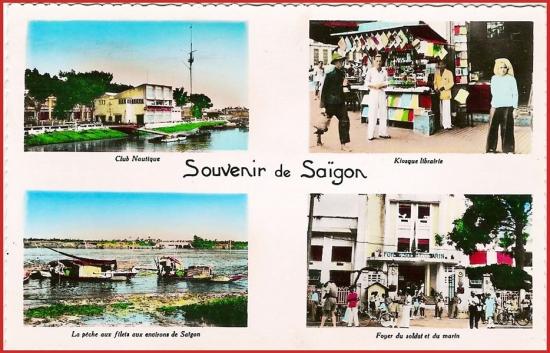 Từ trái sang phải, từ trên xuống dưới: 1 - Câu lạc bộ Hàng hải. 2 - Quầy sách báo. 3 - Nghề chài lưới trên sông Sài Gòn. 4 - Nơi đồn trú của binh lính và thủy thủ Pháp.