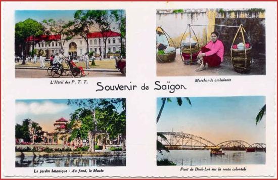 Từ trái sang phải, từ trên xuống dưới: 1 - Bưu điện trung tâm Sài Gòn. 2 - Gánh hàng ăn lưu động. 3 - Viện bảo tàng trong Thảo Cầm Viên