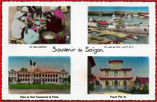 Từ trái sang phải, từ trên xuống dưới: 1- Quán ăn đường phố. 2 - Một góc cảng Sài Gòn. 3 - Dinh Toàn quyền. 4 - Chùa Phật Ân.