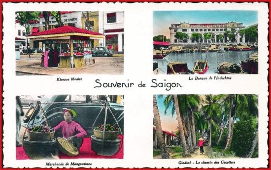 Từ trái sang phải, từ trên xuống dưới: 1 - Quầy sách báo. 2 - Ngân hàng Đông Dương. 3 - Người bán hoa quả. 4 - Con đường dưới bóng dừa.