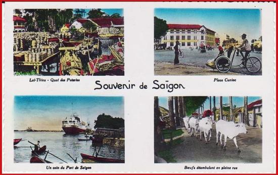 Từ trái sang phải, từ trên xuống dưới: 1 - Cảng Lái Thiêu. 2 - Tòa nhà Cuniac. 3 - Một góc cảng Sài Gòn. 4 - Đàn bò thơ thẩn trên đường.