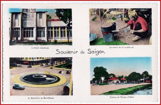 Từ trái sang phải, từ trên xuống dưới: 1 - Tòa nhà Le Cercle Indochinois (nay làtrụ sở Liên đoàn Lao động TPHCM). 2 - Nấu ăn trên phố. 3 - Vòng xoay đại lộ Charner (đường Nguyễn Huệ). 4 - Lăng Cha Cả.