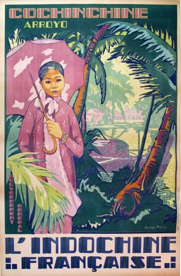 Tấm áp phích này thể hiện những nét đặc trưng của xứ Nam Kỳ với những hàng dừa soi bóng bên bến sông.
