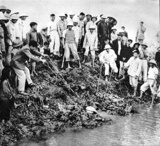 Hồ Chủ tịch tát nước chống hạn ở cánh đồng Quang Tô, xã Đại Thanh, tỉnh Hà Tây (1958).