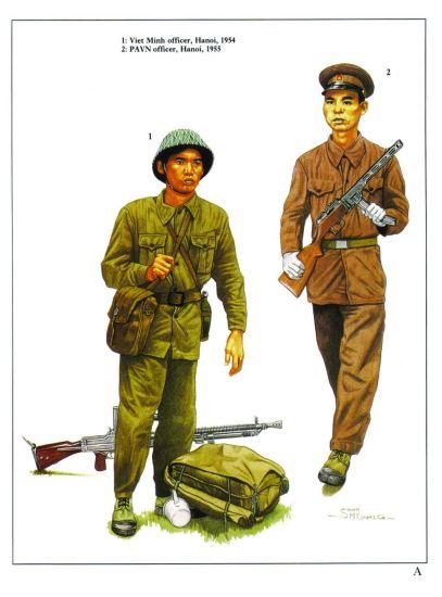 1 - Sĩ quan Việt Minh ở Hà Nội năm 1954. 2 - Sĩ quan Quân đội Nhân dân Việt Nam ở Hà Nội năm 1955.