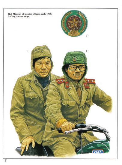 1 & 2 - Nhân viên Bộ nội vụ (Công an Nhân dân) đầu những năm 1980.  3 - Huy hiệu Công An gắn trên mũ.