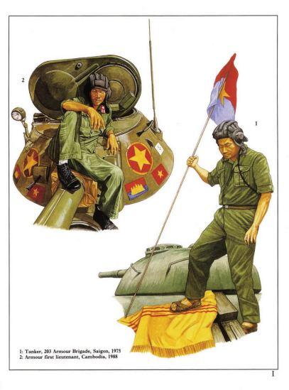 1 - Chiến sĩ xe tăng thuộc Lữ đoàn tăng thiết giáp 203 tại mặt trận Sài Gòn năm 1975.  2 - Trung uý tăng thiết giáp tại Campuchia năm 1988.
