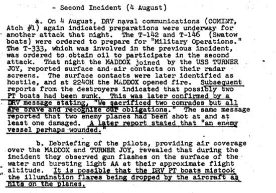 """Một tài liệu lưu trữ của chính phủ Mỹ về """"sự kiện Vịnh Bắc Bộ lần 2"""". Trong một cuốn băng thu âm được giải mật năm 2001, tổng thống Lyndon B. Johnson thừa nhận rằng vụ thứ hai trong sự kiện Vịnh Bắc Bộ chưa hề xảy ra."""