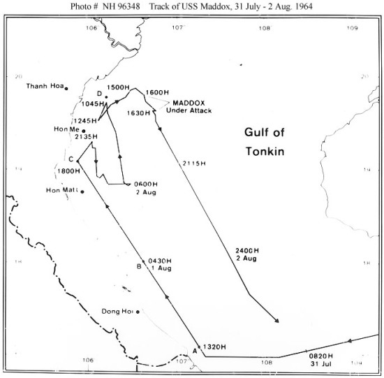 Sơ đồ của Hải quân Mỹ giải thích các biến cố của sự kiện Vịnh Bắc Bộ lần 1.