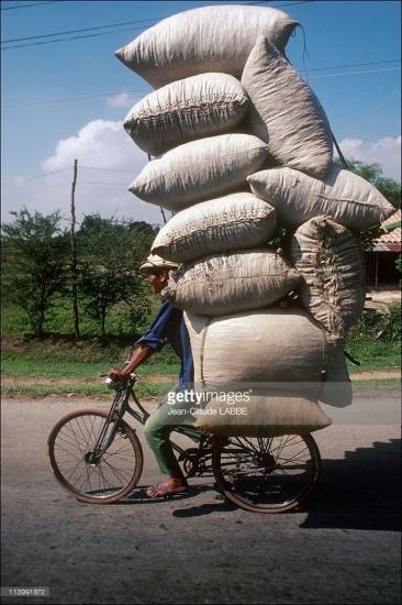 """""""Siêu"""" xe đạp chở nông sản ở ngoại ô thành phố."""