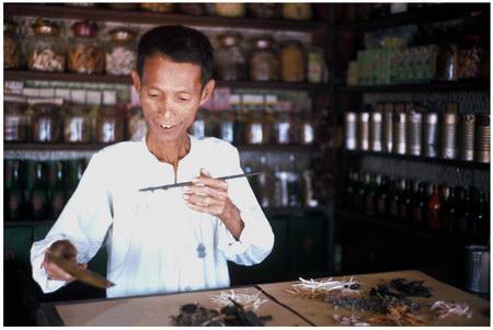 Chú thích của Steve Brown trên Flickr cá nhân của mình về bức ảnh: Vị dược sĩ này đang pha chế một bài thuốc từ các loại thảo mộc theo những công thức của riêng mình tại một thôn nhỏ ở phía Nam của Huế.